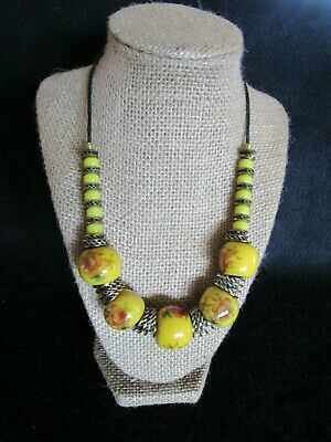 Vintage Retro 1980's Statement Necklace Yellow Ceramic Beads Roses Flowers
