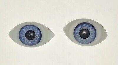 Pair of Antique French/German Blown Glass Paper Weight Doll Eyes in BLUE  22mm