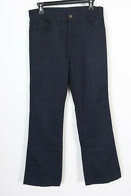 Vintage LEVIS STA-PREST Big E 646 Navy Blue Flare Pants USA Mens Size 31x31