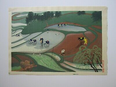 Vintage Old Japanese Woodblock Print Rice Field Farm Farmer Worker Landscape
