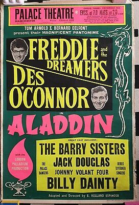Vintage Palace Theatre Aladdin Poster Freddie Dreamers Des O'connor