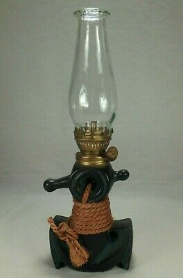 Dabs Miniature Oil Lamp Ships Anchor Nautical Painted Ceramic Porcelain Japan