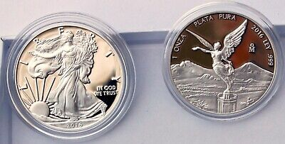 2016 Mexico Silver Libertad Proof & 30th Anniv 2016 American Silver Eagle Proof