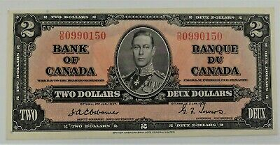Scarce 1937 Osborne - Towers Bank Of Canada $2 Dollars Note, Ef+ To Au Condition