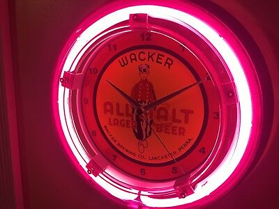 Wacker Lancaster Pennsylvania Beer Bar Advertising Man Cave Neon Wall Clock Sign