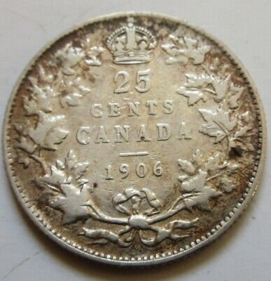 1906 Canada Silver Twenty-Five Cents Coin BETTER GRADE Large Crown QUARTER RJ521