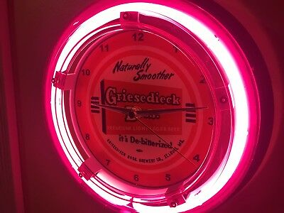 Griesedieck Bros. St. Louis Beer Bar Advertising Man Cave Neon Wall Clock Sign