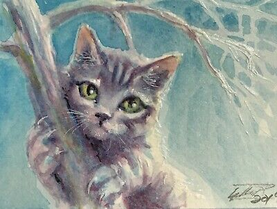 ACEO painting Original kitten Cat tabby fine art Originals direct from artist