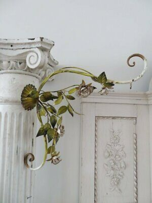 OMG Old Vintage Italian Tole Large WALL HANGER HOLDER HOOK White Roses