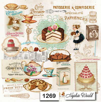 (1269) TWO Individual Paper Luncheon Decoupage Napkins - VINTAGE PASTRIES CAKES