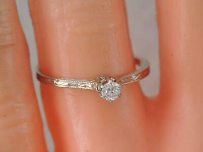 ANTIQUE Art Deco SOLID 18K WHITE GOLD DIAMOND SOLITAIRE RING ENGRAVED DESIGN