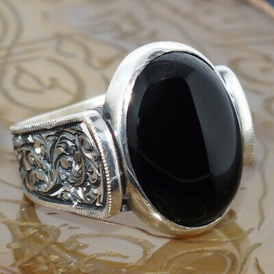Vintage Silver Plated Black Oval Zircon Engagement Ladies Jewelry Palace Ring