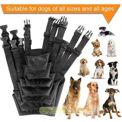 7 PCS Anti-Barking Pet Muzzles Adjustable Dog Muzzle Mouth Cover for S-XXXL BLK