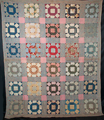"""1930's Patchwork Quilt Crown Of Thorns Tied  84"""" x 70-1/2"""""""