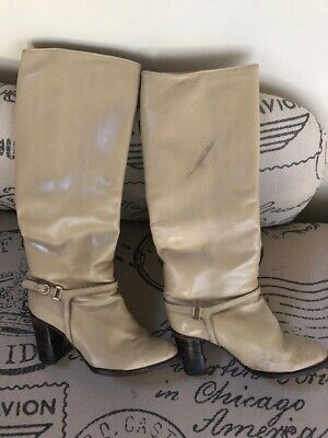 Vintage 1970s Beige /cream Leather Boots In Good Used Condition. Size 36.5