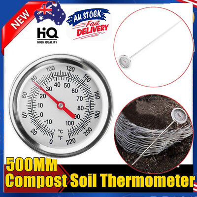 COMPOST SOIL THERMOMETER PREMIUM STAINLESS STEEL BIMETAL PROBE 0℃~120℃ SALE Kd