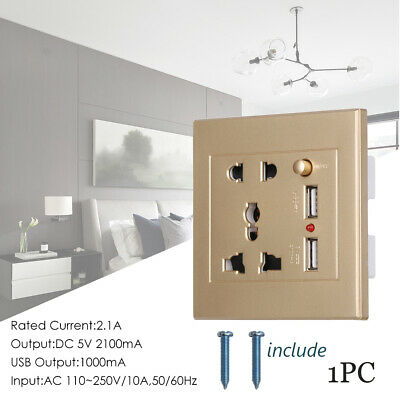 Panel Switch Wall Socket Dual USB Port Power Adapter Electrical Outlet