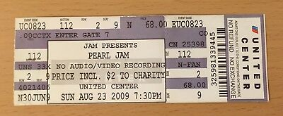 2009 Pearl Jam 8/23 9 Chicago Concert Ticket Stub Eddie Vedder Dieci Vs.Vitalogy
