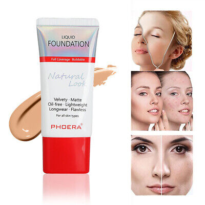 Matte PHOERA Liquid Foundation Longlasting Full Coverage Concealer Moisturizing