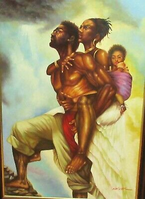 Kaiser African American Family As One Huge Original Oil On Canvas Painting