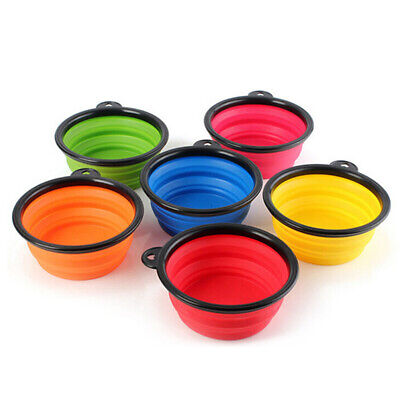 Silicone Pet Cat Dog Portable Folding Travel Feeding Bowl Food Water Feeder Dish