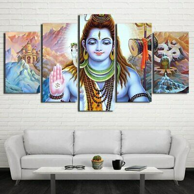 Hindu God Lord Shiva Painting Modern Poster Canvas Picture Art Wall Home Decor