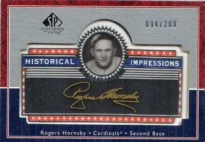 2003 (CARDINALS) SP Legendary Cuts Historical Impressions Gold 200 #RH Hornsby
