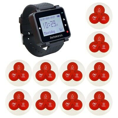 Restaurant Cafe Guest Paging System LCD Watch Receiver Vibration Buzzer+10*Pager