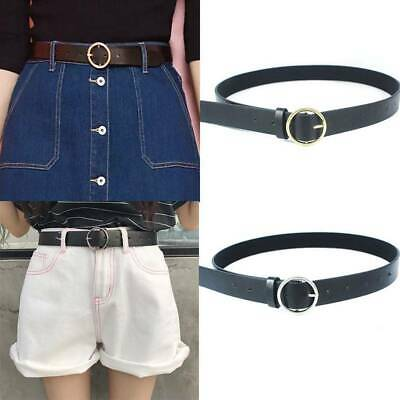 Fashion Pin Buckle Round Metal Circle Belts PU Fashion All-Match Belt