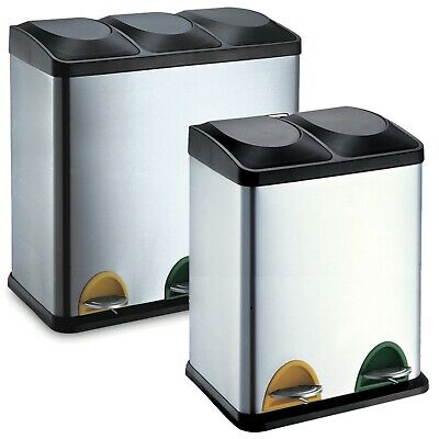 40-60L Stainless Steel Recycling Bins with 2-3 Compartments Waste Rubbish Trash