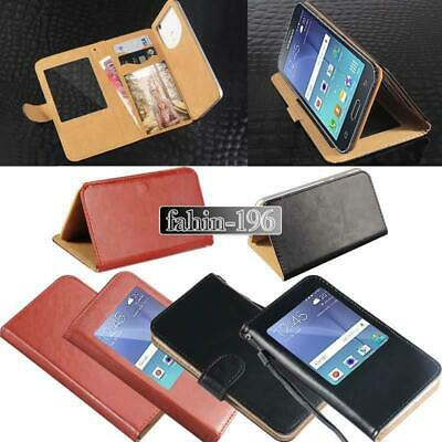 For Various Samsung Galaxy phones - Flip View Window Cover Stand Leather Case