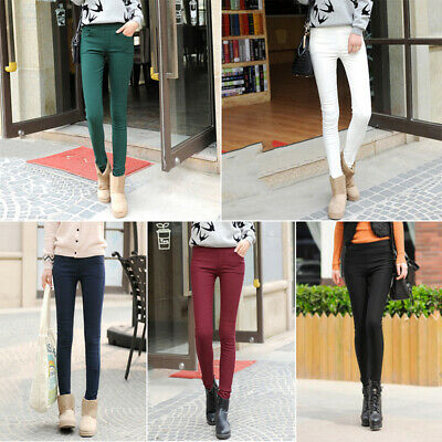 Women Winter Solid Thick Warm Soft Lined Thermal Stretchy Leggings Pants