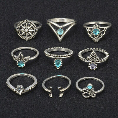 9x Antique Silver Crystal Boho Knuckle Ring Carved Midi Ring Jewelry Set