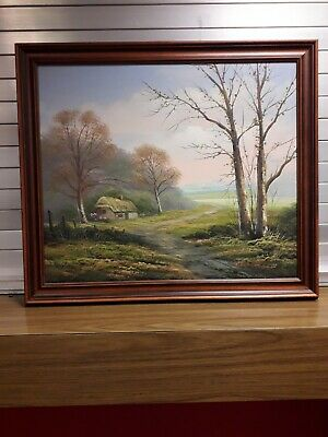 """Framed Oil Painting /""""Tuscany Fields-1/"""" 9x11 inches"""