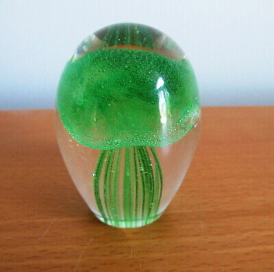 "Art Glass Paperweight Green Jellyfish Small 2 1/2"" No Label"