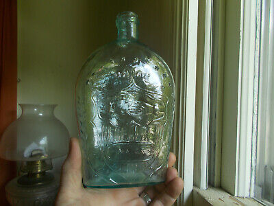 """UNION CLASPED HANDS EAGLE 1860s CRUDE QUART FLASK WITH """"NO 2"""" IN OVAL GXII-7a"""