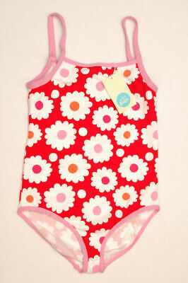 NEW MINI BODEN Girl Daisy Bathing Swim Suit White Pink Red 13 14 NWT