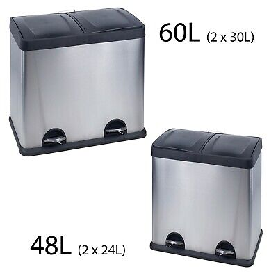 48-60L Stainless Steel 2 Compartments Pedal Recycling Bins Waste Rubbish Trash