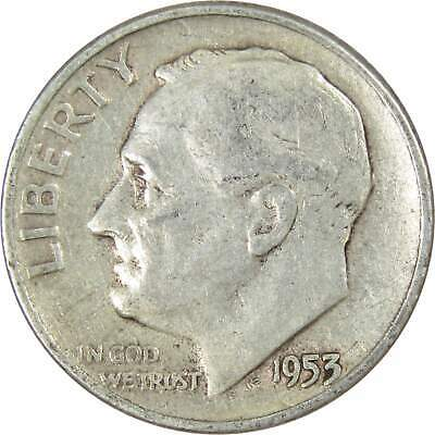 1953 10c Roosevelt Silver Dime US Coin Average Circulated