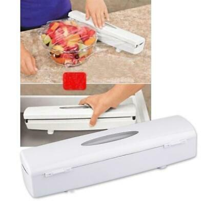 Plastic Kitchen Foil And Food Cling Film Wrap Roll Dispenser Cutter Holder Box Y