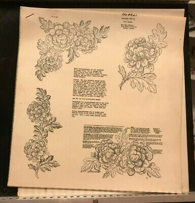 Vera Waters #4421 Wax Stencil for Textile Painting Chrysanthemums Vintage Unused