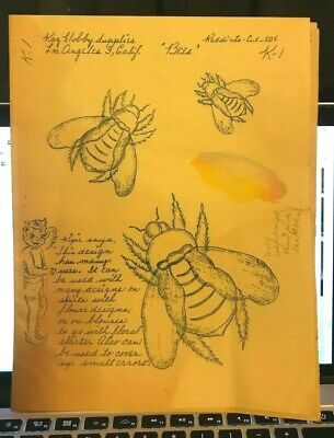 Kaz Reddi-to-Cut K1 Wax Stencil for Textile Painting Bees Vintage Used