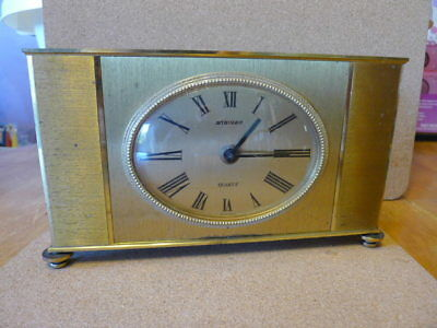 Large Solid Brass Staiger (German) Retro Mantel - Shelf  Clock........ VGC..