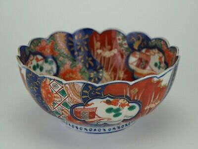 Antique Japanese Imari Porcelain Bowl Fluted Rim 19th C MEIJI