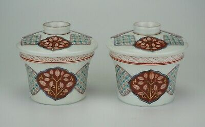 FINE Pair Antique Japanese Imari Porcelain Tea Bowl and Lid 19th C Meiji