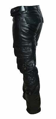Men's Genuine Cowhide Leather Pants Cargo Quilted Panel Gay Interest Pants