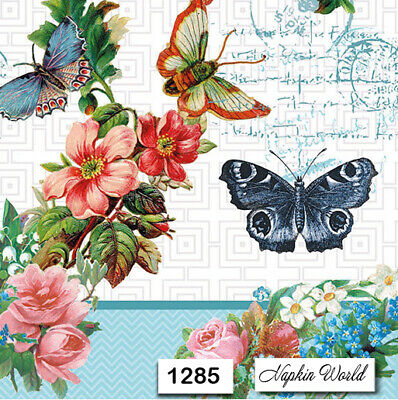 (1285) TWO Individual Paper Luncheon Decoupage Napkins - BUTTERFLIES FLOWERS