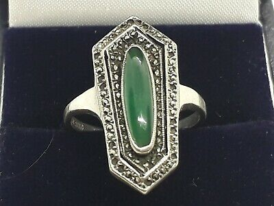 Stunning Antique art deco  solid silver jade and  marcasites ring.. size O