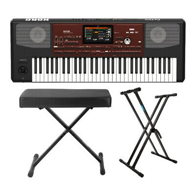 Korg PA700 61-Key Arranger Keyboard with Knox X-Style Bench and Double X Stand