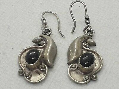 Superb  antique art deco solid silver onyx  earrings